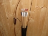 Tubular leather quiver for arrows with lacing