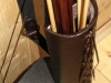 Back quiver with a leather lacing