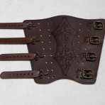 Armguard made of leather (with 4 adjustable buckles)